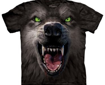 Big Face Attack Wolf Tee Design by David Penfound