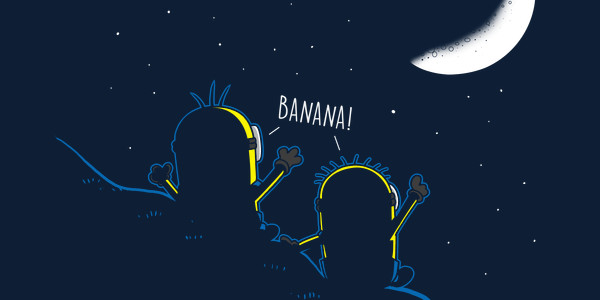 Under a Banana-shaped Moon Tee Design by Boggs Nicolas.