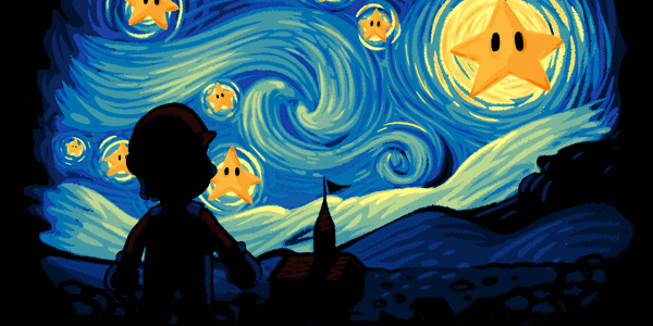 Super Starry Night Tee Design by Naolito.
