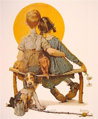 Boy And Girl Gazing At The Moon Painting (aka Puppy Love) by Norman Rockwell