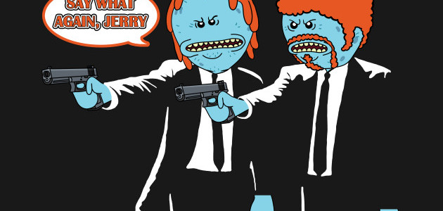 Mr. Meeseeks Pulp Fiction Tee Design by bovaart.