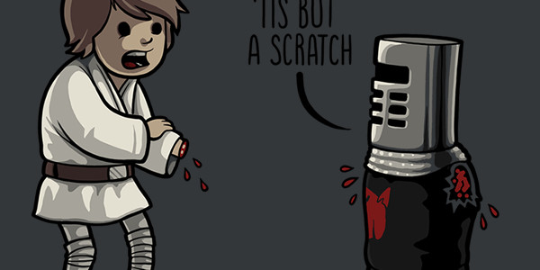 Tis But A Scratch Tee Design by Naolito.