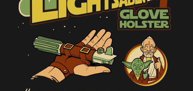 Lightsaber Glove Holster Tee Design by glenbrogan.