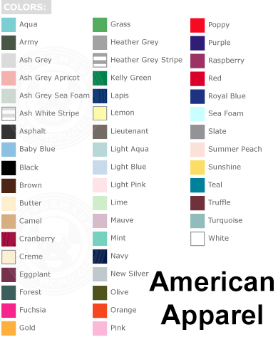 American Apparel Tee Blank Colors