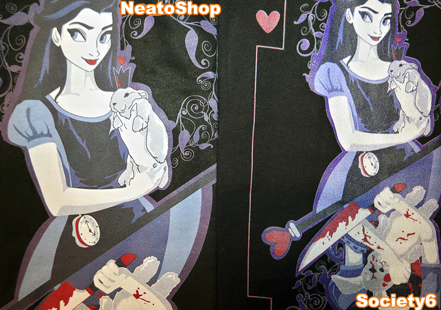 Alice Card Tee Design Side By Side Print Comparison Society6 vs NeatoShop