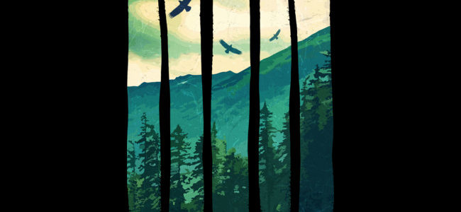 Vintage Pines Eagles Mountain Tee Design by Somzee.