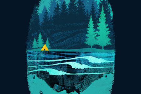 Pine Forest Mountain Summer Surf Camp Tee Design By Limhengs.