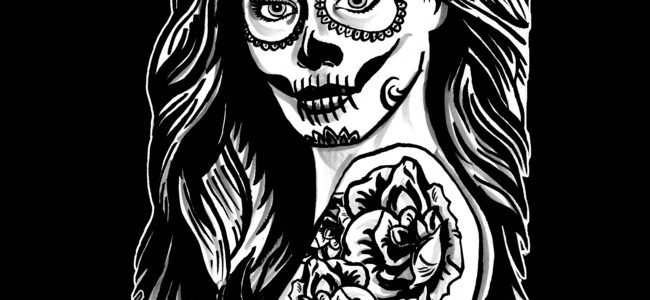 Day of the Dead Tattoo Girl Hoodie Design By deadallover.