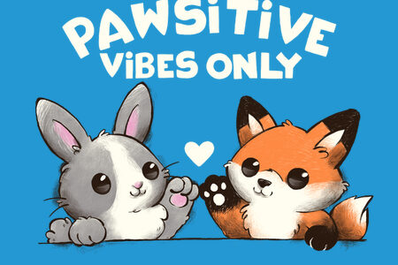 Pawsitive Vibes Only T-shirt Design Thumbnail